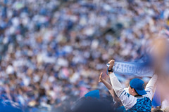 filled in blue (ken_tsuda) Tags: blue people japan lens prime tokyo nikon cityscape baseball bokeh stadium telephoto f2 yokohama nikkor spectator 200mm  kentsuda 20160515hbaseball8120