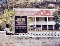 Methodist Church (podolux) Tags: street boy sign churchsign streetphoto 1970 tortola bvi unaware britishvirginislands scannedslide paintedsign unsuspecting postprocessing roadtown snapseed