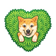 Shiba Inu Gets Stuck In Bush (Monich Alexander) Tags: dog get cute green love smile japan illustration puppy logo fun happy japanese bush sticker husky funny heart stuck good lol character joke feel sunny icon cutie snacky meme kawaii aww getting characters awww shiba epic   vector corel mem nya inu coreldraw fail huskie  mimimi   monich kawa ny