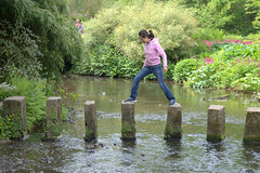 Cautious (Tony Worrall Foto) Tags: county uk england wet water girl river fun outdoors jump funny stream tour open place cross stones candid yorkshire country north leeds visit location step area steppingstones northern update attraction westyorkshire harewoodhouse countryhouse harewood welovethenorth harewoodhouseisacountryhouseinharewoodnearleeds