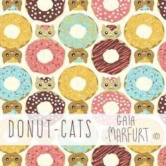 donut-cats (Gaia Marfurt) Tags: sfweeklydesign spoonflower pattern fabricdesign artlicensing baby kidswearing donut cat animals ilustration drawing inkscape gimp wacom digitalart kawaii cute kitty moda giftwrap