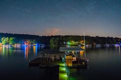 Starry Night at the Lake - 6 (taylorsloan) Tags: sky lake green night stars galaxy lakeoftheozarks starrynight noob clearnight starsinthesky takingnightshots