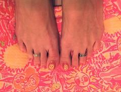 Summer Sun Toes - June 2016 (martha.harmon) Tags: pink sun feet sunshine foot toes toe pedicure toering nailart toerings lillypulitzer