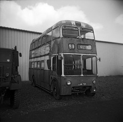 Old trolley bus (Ronald_H) Tags: uk bw holiday bus 120 6x6 museum holga trolley plastic medium format sunderland 2016