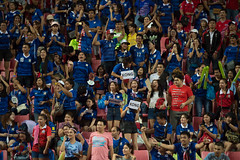 BANGKOK-THAILAND-5JUNE,2016:Unidentified fans of Thailand supporters celebrating  during match between match Kings cup between Thailand and Jordan at rajamangkala Stadium in Thailand on 5 june 2016 (leykladay) Tags: world portrait people man motion sport club ball thailand person moving football goal movement fighter play action kick stadium fifa soccer group competition player line thai editorial match fans league cheering champions supporters active kingcup tpl