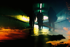 Lomo  the long walk (lomomowlem) Tags: city sunset urban london film clouds dark underground lomo xpro lomography xprocess doubleexposure crossprocess lofi commute analogue subterranean pedestriantunnel expiredfilm kodakelitechrome ebx colourstreambrighton