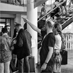 The Stairs crew (John Riper) Tags: street people bw white black netherlands monochrome canon john square photography mono rotterdam zwartwit candid event crew l member pointing trap cultural reconstruction 6d 24105 groot stationsplein groothandelsgebouw straatfotografie detrap handelsgebouw wederopbouw riper johnriper rotterdamviertdestad photingo