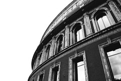 (nic lawrance) Tags: windows light shadow blackandwhite london lines architecture contrast reflections dark royalalberthall curves perspective shape
