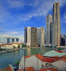View of Singapore River from Boat Quay (williamcho) Tags: tourism architecture buildings singapore cityscape casino promenade boatquay attractions mbs singaporeriver bankofchina skypark boc marinabay maybank unitedbank asiancivilizationsmuseum onerafflesplace marinabaysands