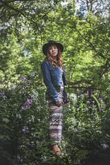 Alone (Louis Chiasson) Tags: marieve canon 5d 50mm f18 women dress wood forest fort outdoor strobist portrait selens 120cm octobox otabox einstein e640 paul buff paulcbuff chapeau green vert hat