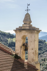 (Voyages Lambert) Tags: blue sky mountain france tower clock church europe cross bell religion corsica chapel chain layered hautecorse rockobject