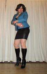 lady in boots (Barb78ara) Tags: leather highheels boots tights skirt jacket stilettoheels miniskirt pantyhose nylon paintednails shortskirt wetlook highheelboots bluejacket stilettoboots shinypantyhose tanpantyhose shinynylon tightboots leatherlook stilettohighheels wetlookskirt