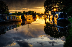 Golden Boats.. (Philip R Jones) Tags: sunset summer sun boats golden evening boat canal lowlight nikon cheshire solstice beckham hdr narrowboat ott towpath goldenlight photomatix shropshireunion d7000