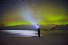 Man V.S. The Nature (jacklin_64) Tags: sky beach norway night north arctic aurora a7 milkyway ramberg