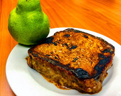Toasted slowly cooked oyster blade steak with cheese and a pear (garydlum) Tags: woden steak canberra beef pear cheese raisintoast phillip australiancapitalterritory australia au