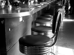 Seats at the bar (pilechko) Tags: blackandwhite monochrome breakfast bar restaurant pennsylvania chrome stools newhope