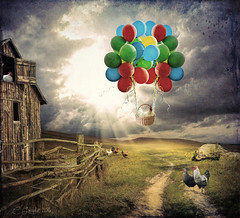 BucketList (clabudak) Tags: chickens barn fence balloons landscape fly artwork basket surreal textures crazygeniuses