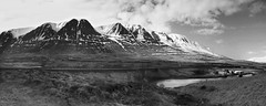 river deep mountain high (lunaryuna) Tags: voyage road travel bridge bw panorama monochrome river season landscape blackwhite spring journey lunaryuna mountainrange mountainscape snowcappedmountains ontheroadagain northerniceland seasonalchange