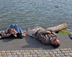 Resting on the Riverfront (Mondmann) Tags: sleeping woman usa man water america river washingtondc duck unitedstates relaxing georgetown potomac riverfront resting mondmann fujifilmx100s georgetownriverfront