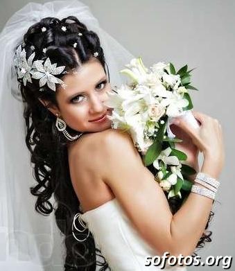 Penteado para noiva cabelo longo preto