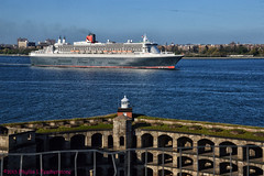 Queen Mary 2 passes Ft. Wadsworth (Phyllis Featherstone) Tags: newyorkcity worldtradecenter statenisland qm2 queenmary2 reallyrightstuff nikond3200 newyorkharbor fortwadsworth ftwadsworth phyllisfeatherstone reallyrightstuffhead queenmaryvz050313 sigma18250macrolens