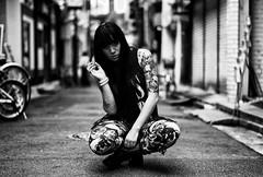 Luxci Cortex (ChrisNagasawa) Tags: street leica city portrait bw woman white black sexy love girl monochrome rock japan metal asian tokyo shinjuku punk erotic cloudy bokeh cigarette smoke gothic goth kabukicho mistress summilux tobacco asph chuo dominatrix 5014 2013 leicam8