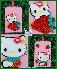 Strawbee Kitty (Soul Lovely Things) Tags: hello pink cute mobile fruit cat strawberry handmade girly hellokitty kitty felt case kawaii iphone       kawtharalhassan soullovelythings