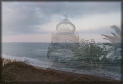Arena, mar y faro. (P e p a) Tags: faro mar playa verano montajes fusiones