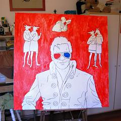 """Elvis Dogs"" - painting process #2 (apathic) Tags: painting elvis process oiloncanvas"