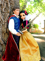 """Protect me Brave Prince!"" (They Call Me Obsessed) Tags: new red white snow classic yellow set fairytale pose hair movie outdoors doll dolls princess designer barbie couples prince down disney collection fairy seven custom princes tale princesses dwarfs sward 2013"