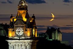Balmoral, Edinburgh Castle and Moon 9 Sept 2013