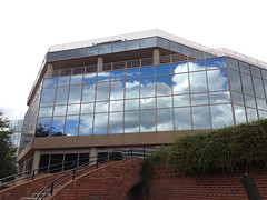 Silent Movie (zxgirl) Tags: sky cloud reflection building alexandria clouds mirror virginia reflect va iphone canalcenter img6411