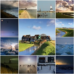 Marken through the seasons (B℮n) Tags: travel blue houses winter sea summer sky lighthouse haven holland history tourism monument water dutch birds collage yard landscape island fly flying geese wooden fdsflickrtoys topf50 skies village flood mosaic best goose ganzen unesco collection former curve dyke dijk peninsula topf100 dike hamlet marken finest authentic ijsselmeer waterland noord zuiderzee 1857 terp werf vformation markermeer 100faves 50faves rozewerf grotewerf moenis zereiderpad