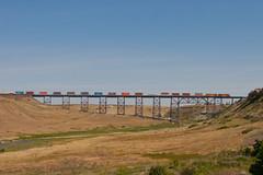 Train trestle at Cut Bank (Westbnsf) Tags: railroad trestle bridge train montana trains stack locomotive bnsf eastbound burlingtonnorthernsantafe cutbank
