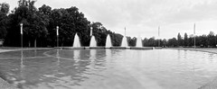 Place de Milan (timtom.ch) Tags: park bw panorama film water fountain switzerland pond lausanne fontaine bassin vd vaud horizons3pro parcdemilan