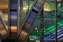 Day #2165 (cazphoto.co.uk) Tags: windows colour london metal architecture reflections dark lights evening escalator struts brushedsteel project365 041213 canoneos100d beyond1827 canon1855mmeff3556isstm