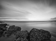 Soft Soul Transition (Mathijs Delva) Tags: longexposure light sea blackandwhite bw seascape beach nature water monochrome clouds landscape mono coast movement rocks le scape uwa ultrawideangle tokina1116f28