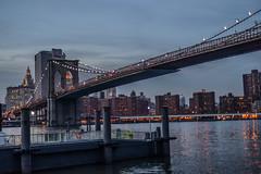 Brooklyn Bridge at dusk (Sunpanther) Tags: nyc newyorkcity newyork brooklyn river lights evening dusk brooklynbridge eastriver brooklynbridgepark