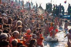 During Kumbh Mela pilgrimage 2013, Allahabad, India (David Ducoin) Tags: portrait india men water river naked bath asia holy pilgrimage pilgrim ganga naga mela allahabad purification kumbhmela kumbh onlymen 2013 nagababa vision:outdoor=0871