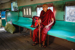 Monk on the Circle Line (Lil [Kristen Elsby]) Tags: travel train southeastasia carriage yangon burma buddhist transport railway monk editorial myanmar circleline topv4444 burmese rangoon buddhistmonk travelphotography circletrain canon5dmarkii circulartrain circularrailway myanmar2013