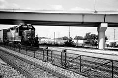 CSX Train Ft Lauderdale (Phillip Pessar) Tags: camera bw white black film analog train 35mm store florida zoom kodak infinity tx trix rail railway olympus x thrift 400 lauderdale ft tri 70 csx