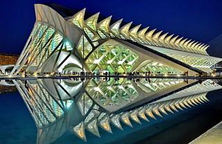 Valencia, Calatrava City Museum of Sciences. blue hour lights on