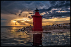 good evening piran.... (Lukas_R.) Tags: leica travel sunset sun lighthouse color water evening 28mm piran slowenien q f17 typ116