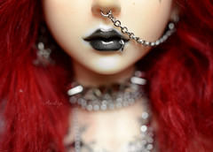 Pretty lips (Mientsje) Tags: winter red up tattoo ball doll close skin head gothic goth super sd event mohair bjd normal luts zenith jointed 2011 dolfie souldoll