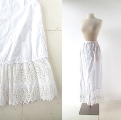 Edwardian white cotton and broderie anglaise slip/petticoat (Small Earth Vintage) Tags: white skirt lingerie cotton slip edwardian petticoat 1900s vintageclothing vintagefashion womensfashion broderieanglaise