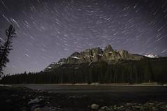 Castle Mt Trails (petergalleghan) Tags: longexposure nightphotography canada stars alpine alberta nightsky startrails banffnationalpark castlemountain amazingplace