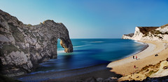 Drurdle Door Pano (creditflats) Tags: uk sea england beach pen bay olympus shore dorset durdledoor ep5