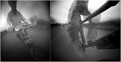 Cyclist on the Move (wheehamx) Tags: motion movement pinhole 4x5 relative ortho