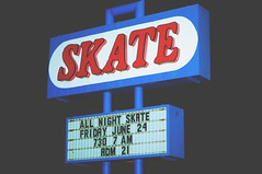SKATE (Stevie Nicole) Tags: red signs black night marquee vibrant skate kansas activity matte hutchinson skateland