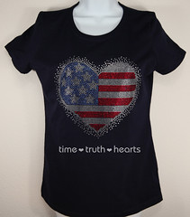 Heart shaped American flag model (TimeTruthHeartsNet) Tags: blue red usa white sexy shirt t day heart flag 4th july style patriotic american bling independence rhinestone